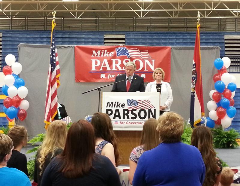 Sen. Parson and wife, Teresa, at Thursday's rally.