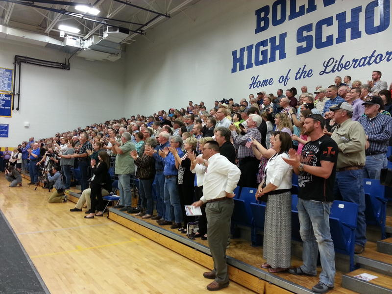 Roughly 500 people filled the Bolivar High School gym to hear Parson's official announcement.