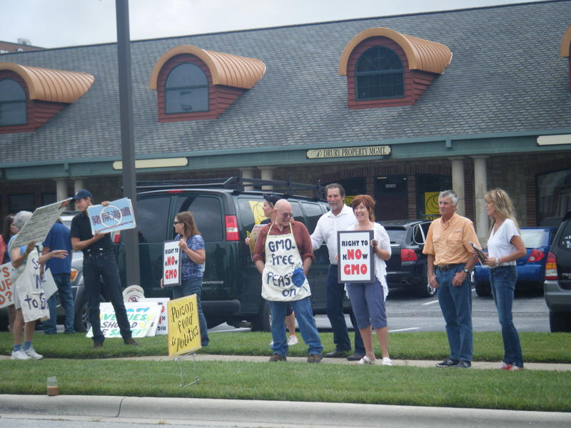 Around 25 activists and protesters were on hand outside of Rep. Billy Long's (R) office Thursday voicing concerns with HB1599.