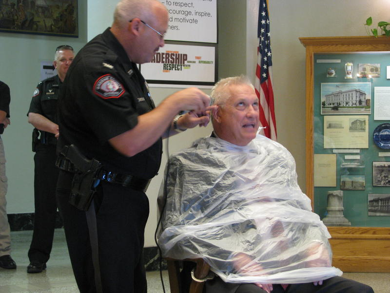 Jim Arnott Begins Shaving Bob Cirtin's Head