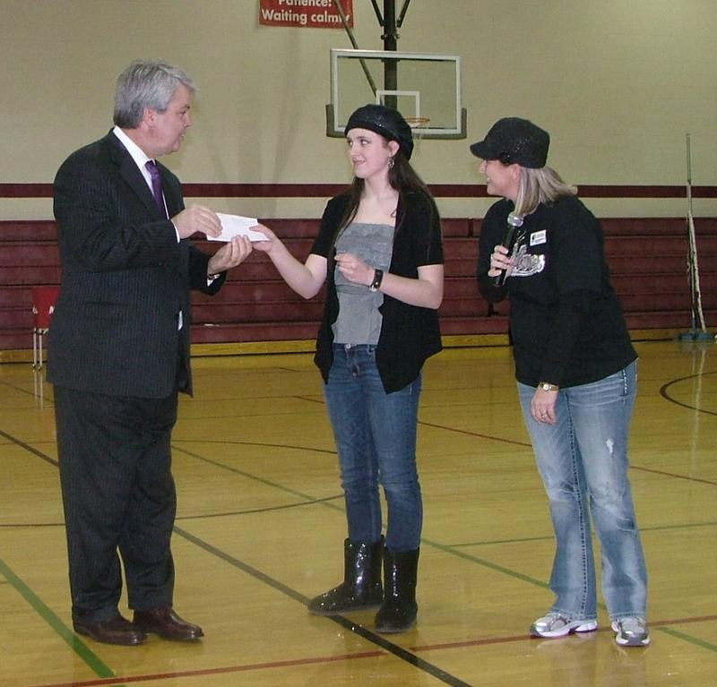 Sophia Greenwalt Presents a Helping Hats Donation to Steve Grant for The Ozarks Honor Flight Program