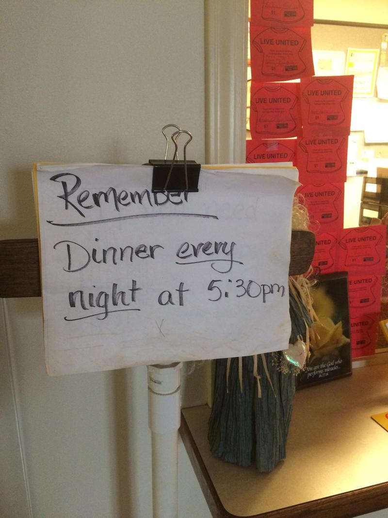 Dinner is Served Every Evening For the 35-40 Residents of the CCC