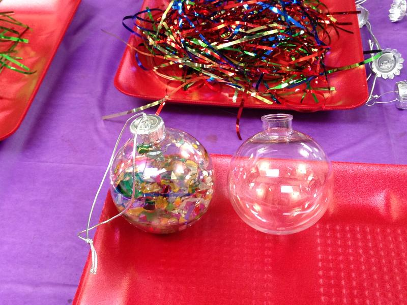 Water-and-glitter-filled tree ornament... and an empty one for comparison.
