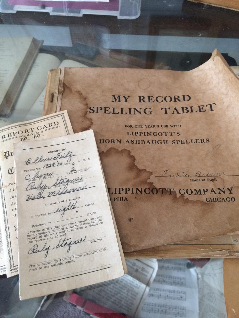 Report Cards,Spelling Tablets and Books On Display at MSU's 1 Room Schoolhouse