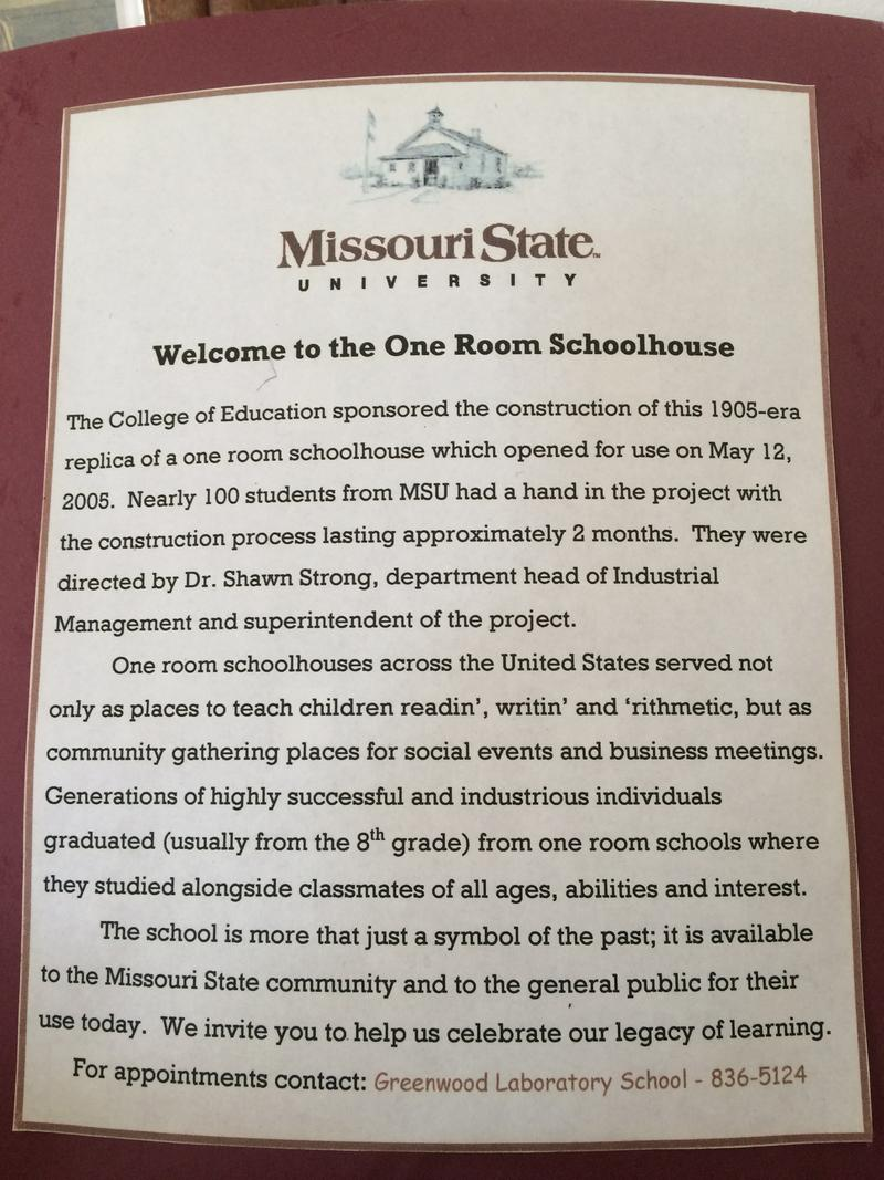 The History of MSU's 1 Room Schoolhouse is Posted on the Wall