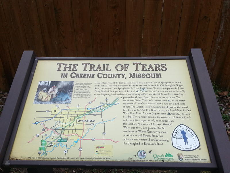 Kiosks mark the beginning of the trail segments. Due to recent historical developments regarding trail alignment, Ozark Greenways is in the process of updating the sign to more accuately reflect the Native's trail.