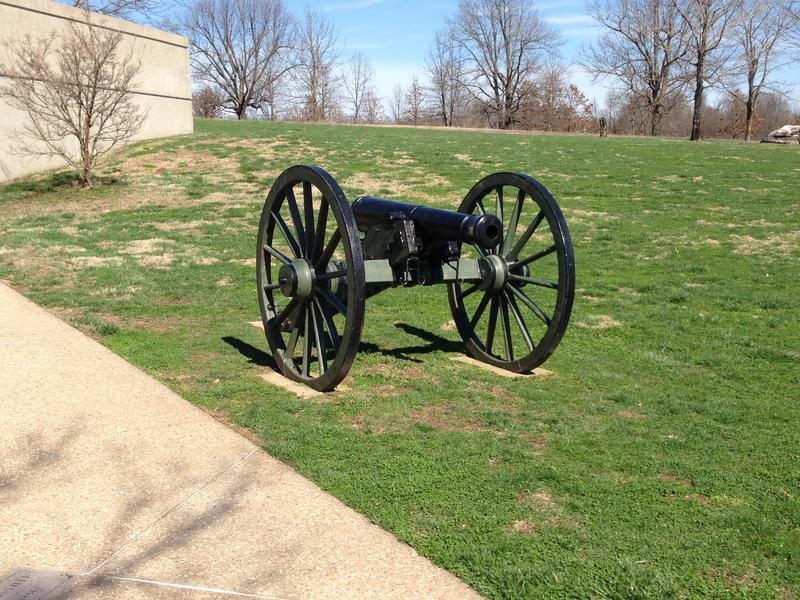 A cannon on the lawn outside the Wilson's Creek National Battlefield Visitor's Center.