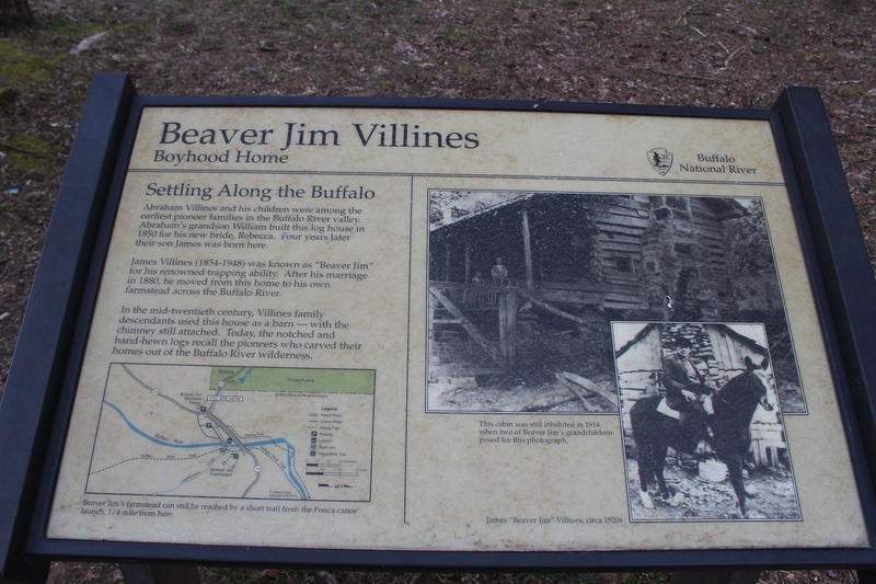 Sign at Beaver Jim Villines Boyhood Home in Boxley, AR