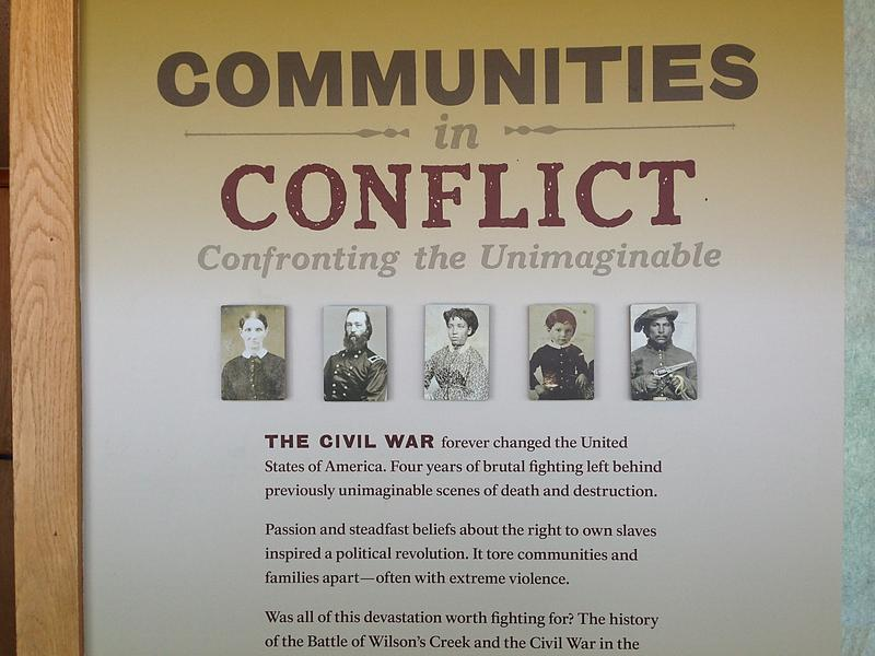 Part of a newly-installed historical timeline of the years before, during and after the Civil War in the Visitor Center gallery at Wilson's Creek National Battlefield.