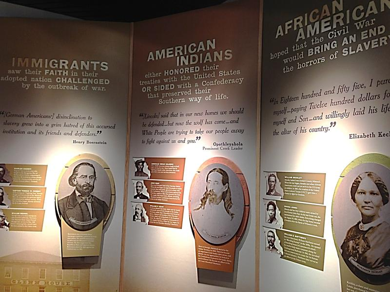 A display in the Wilson's Creek Battlefield Visitor's Center discussing the impact the Civil War had on various ethnic groups.