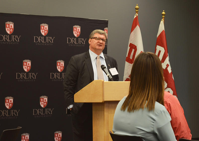Tim Cloyd, who will be the 18th president of Drury University, addresses faculty, staff and community members on Saturday, April 9.