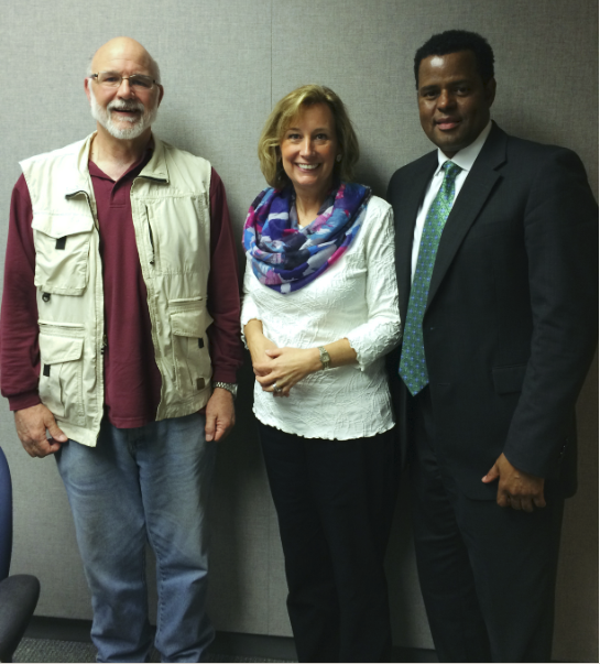 KSMU's Mike Smith in the studio with Wendy Steele and Michael Chatman