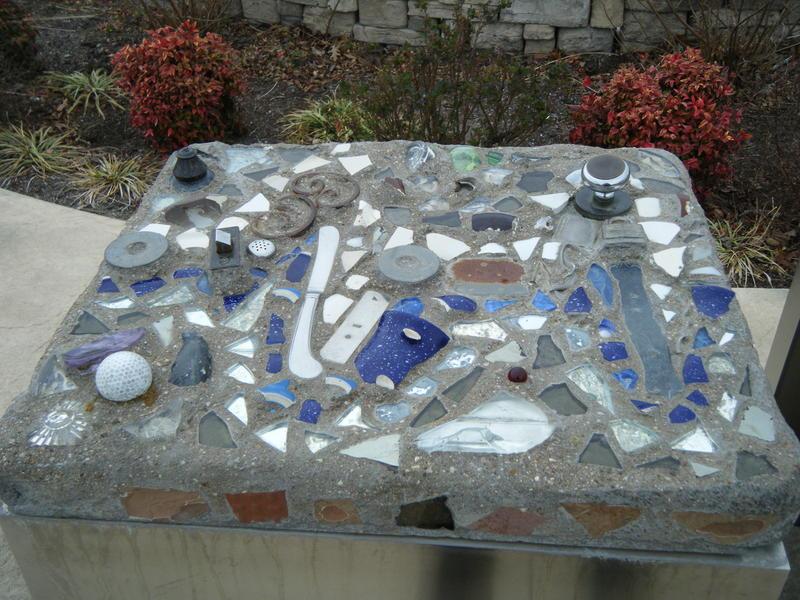 Art made of tornado wreckage-at Cunningham Park