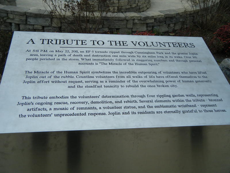 Volunteer plaque at memorial