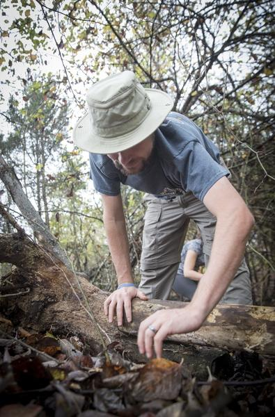 Ben Dalton searches for salamanders