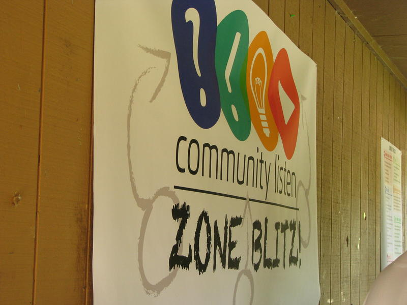 Community Listen Zone Blitz Sign