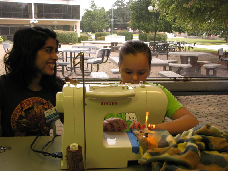 Edith Quiles and Jacey Wilson at Kids' Sewing Day
