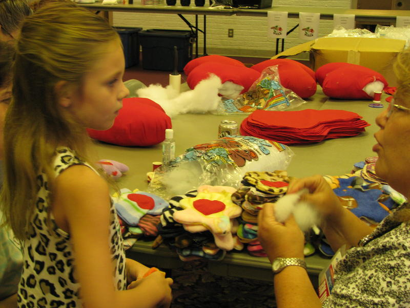 Ella Hedgpeth and Debra Lay at Kids' Sewing Day