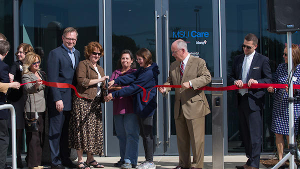 Ribbon cutting at MSU Care clinic.