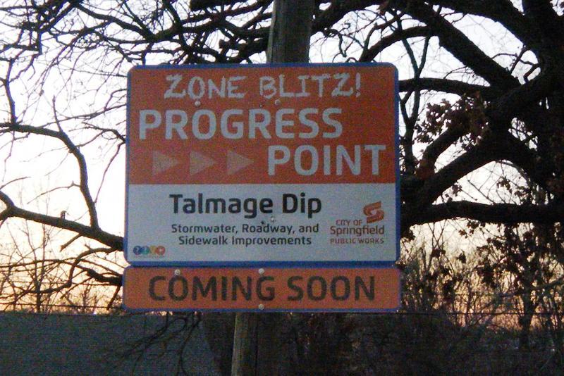 Zone Blitz sign at Talmage Dip