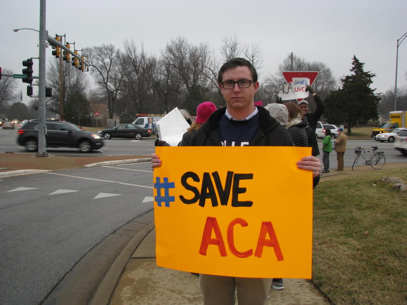Alex Johnson at Rush Hour Rally for ACA