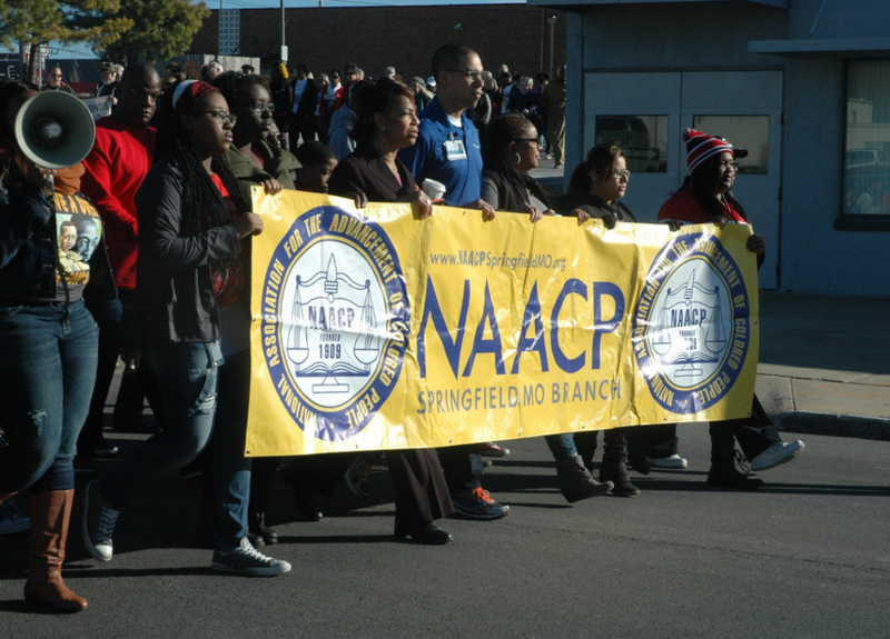 Participants of the 2015 MLK Jr. march in downtown Springfield.
