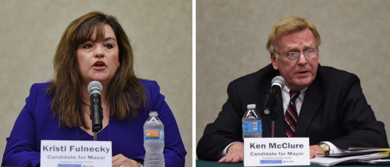 From Left: Kristi Fulnecky and Ken McClure speaking at Thursday's candidate's forum