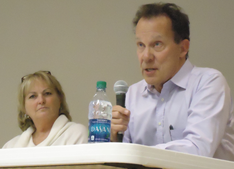 Helen Gunther (left) and Thomas Prater during a Zone 2 forum Thursday at Evangel University.