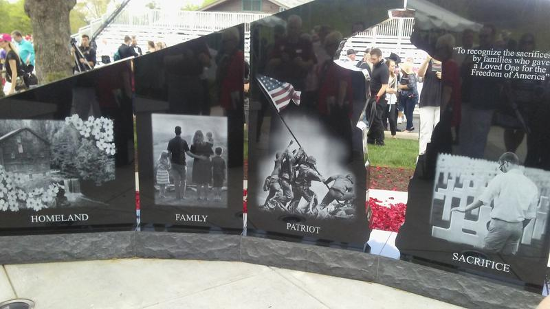 The four panels depict experiences of Gold Star Families, with a  silhouette of a saluting soldier.