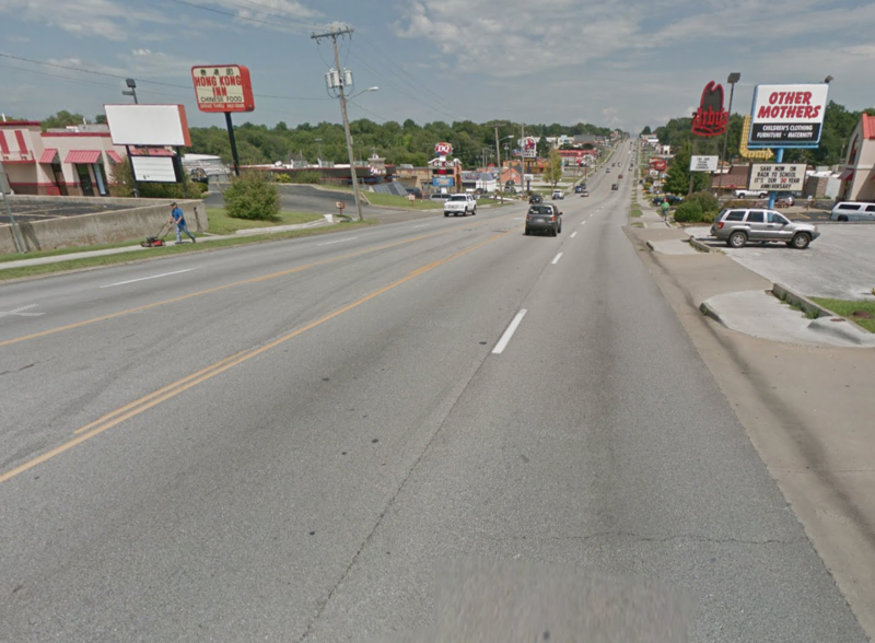 A screenshot of eastbound Kearney Street near the Kansas Expressway intersection.
