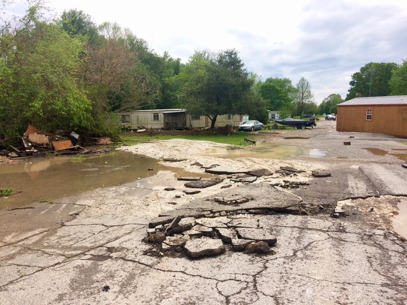 This mobile home park in West Plains was the scene of several emergency water rescues Saturday night.