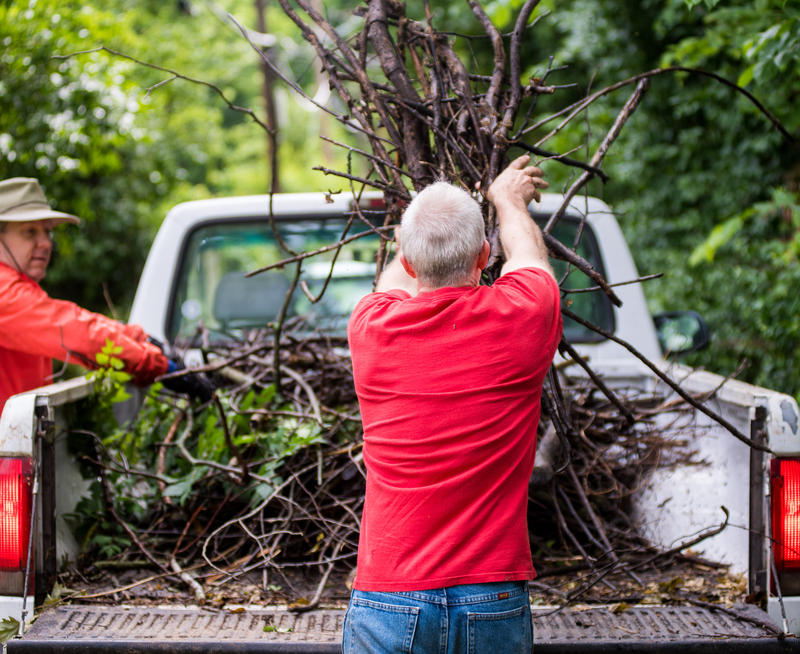 Jim Broadstreet throws branches into the bed of a truck as part of Phelps Grove cleanup. Phelps Neighborhood Association held a neighbor cleanup day for Phelps Grove from 8 a.m. to 12 p.m. on May 20, 2017.