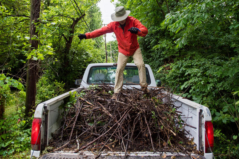 Steve Hargis jumps on branches in the bed of a truck to make more room for more trash as part of Phelps Grove cleanup. Phelps Neighborhood Association held a neighbor cleanup day for Phelps Grove from 8 a.m. to 12 p.m. on May 20, 2017.