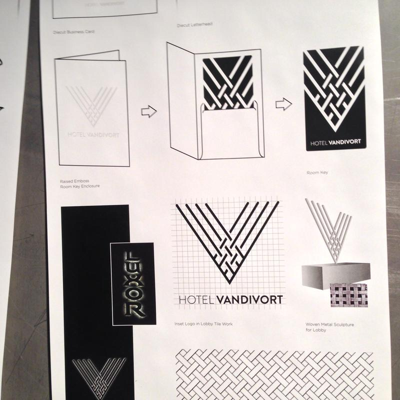 Marlin's logo designs for the Hotel Vandivort in Springfield.