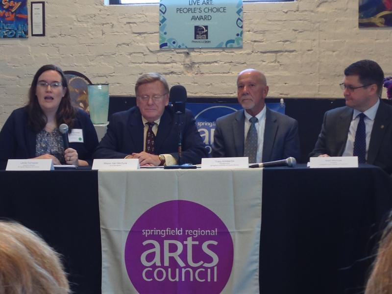 Left to right: Springfield Regional Arts Council Executive Director Leslie Forrester; Springfield Mayor Ken McClure; Convention and Visitors Bureau CEO Tracy Kimberlin; Springfield Area Chamber of Commerce President Matt Morrow.