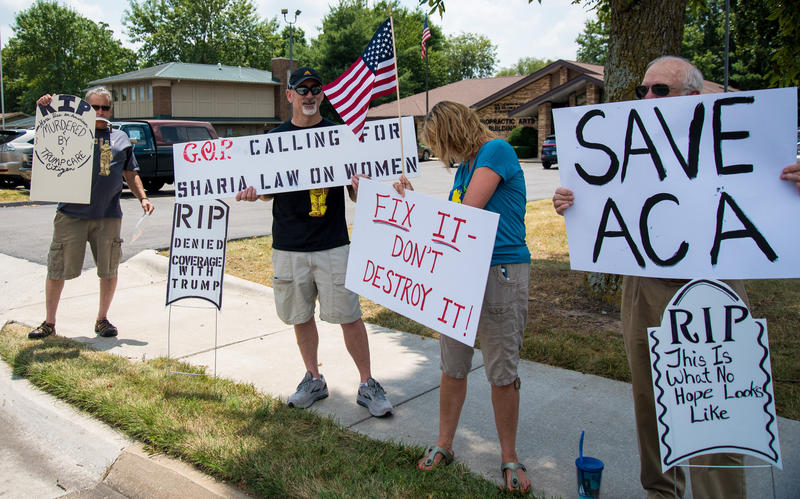 Roughly 60 people protested outside Sen. Roy Blunt's office Tuesday afternoon. The protesters were there to save ACA coverage.