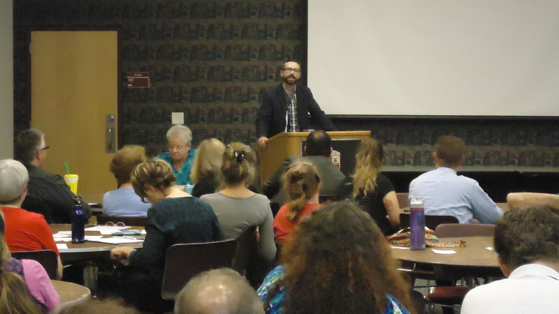 Rev. Phil Snider speaking at Tuesday night's Faith Voices of Southwest Missouri event on the Drury University campus.