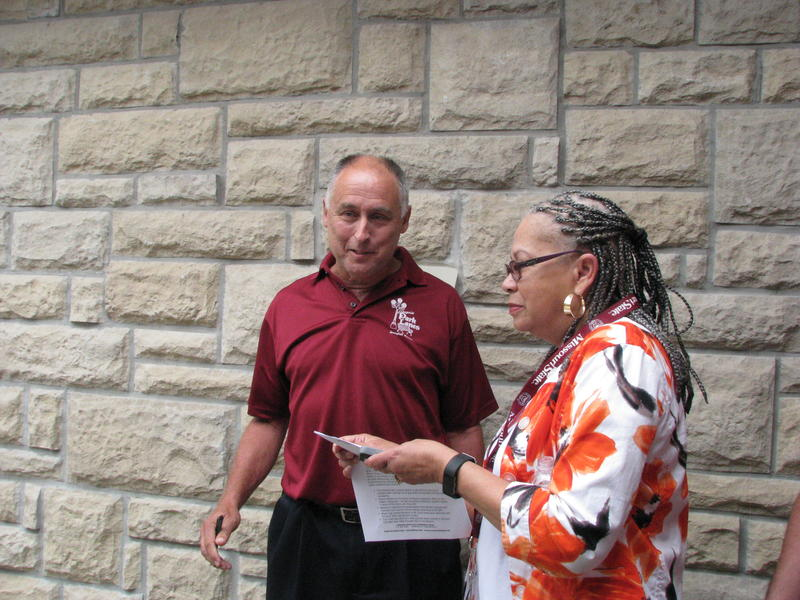 Steve Wiemer, Owner of Enterprise Park Lanes with NAACP Springfield President Cheryl Clay