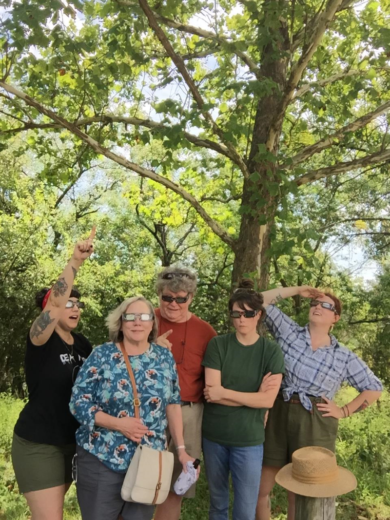 KSMU's Jessica Balisle (on Right) with Stacy Nipstad, Suzy Gray, Steve Gray, and Emily Gray (left to right) at Ben Branch Conservation Area