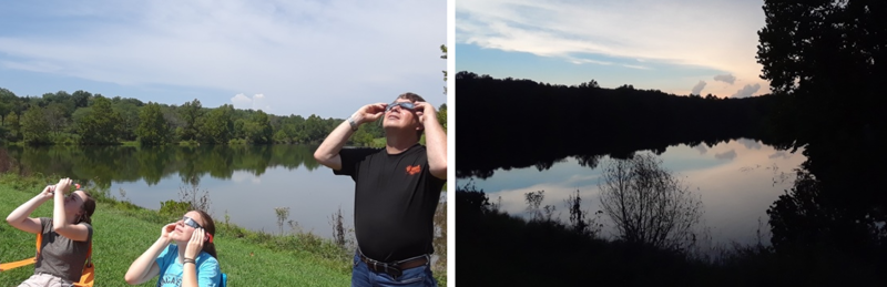 (Left): Members of Michele Skalicky's family view the eclipse prior to totality Monday at Scrivner Road State Wildlife Area. (Right): The lake during totality