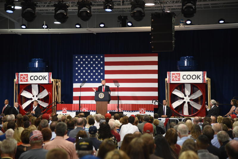 Trump spoke at Loren Cook Company Wednesday before some 1,500 spectators.