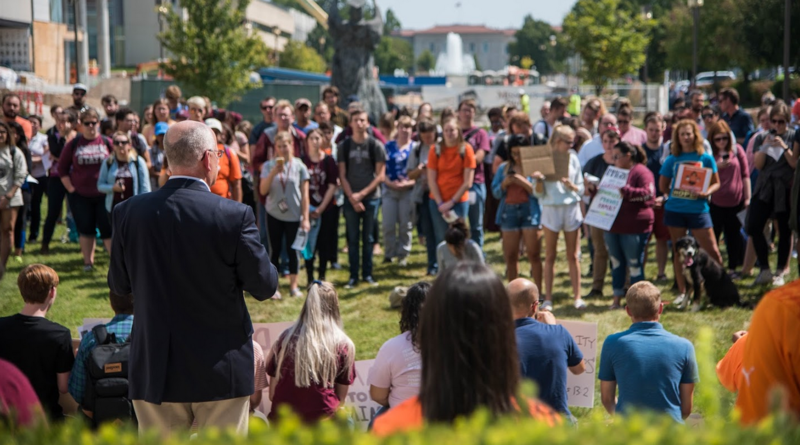 MSU President Clif Smart addresses about 100 students at a DACA rally on campus in August.