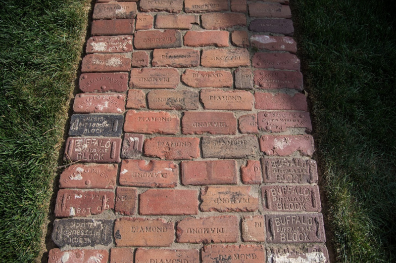Bricks from Susan and Brian Camey's old driveway have been repurposed for a patio.