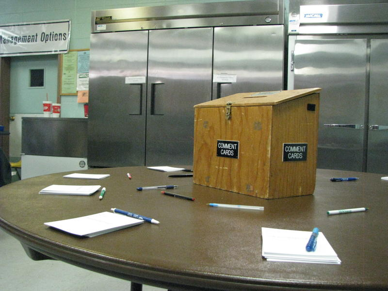 Comment Box Waits to be Filled at the DNR Public Meeting in Ava