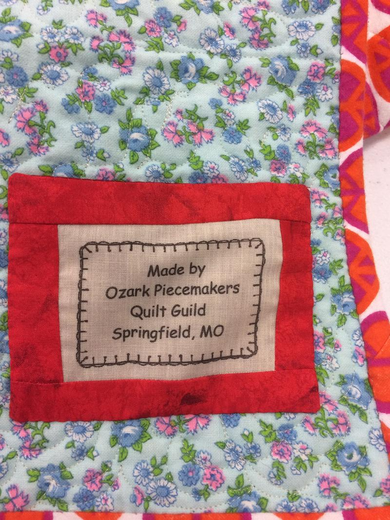Over 800 Quilts With This Label Were Given To The Community In 2016