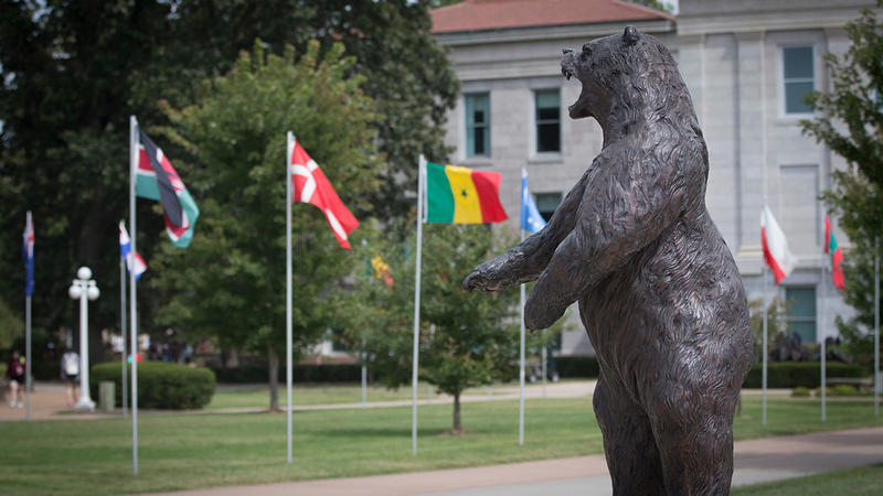 The bear statue with flags of different countries on campus.