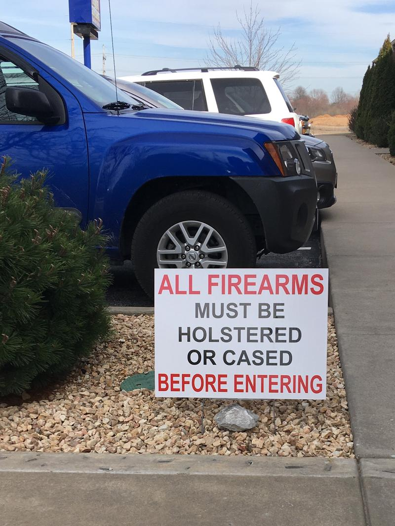 A friendly reminder for those entering the Sound of Freedom Gun Range.