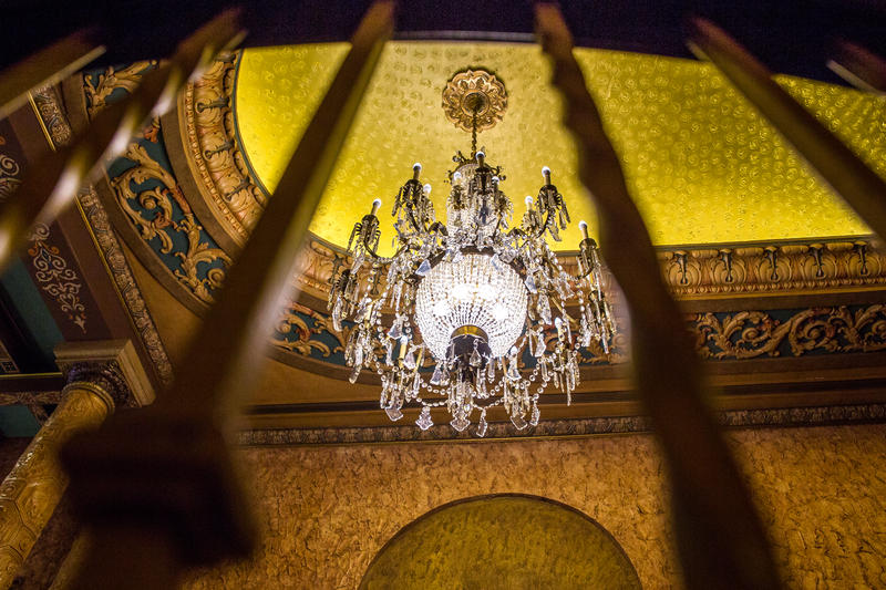 The newly installed chandelier hanging in the Gillioz dates back to 1881 and has become a centerpiece in the theatre.