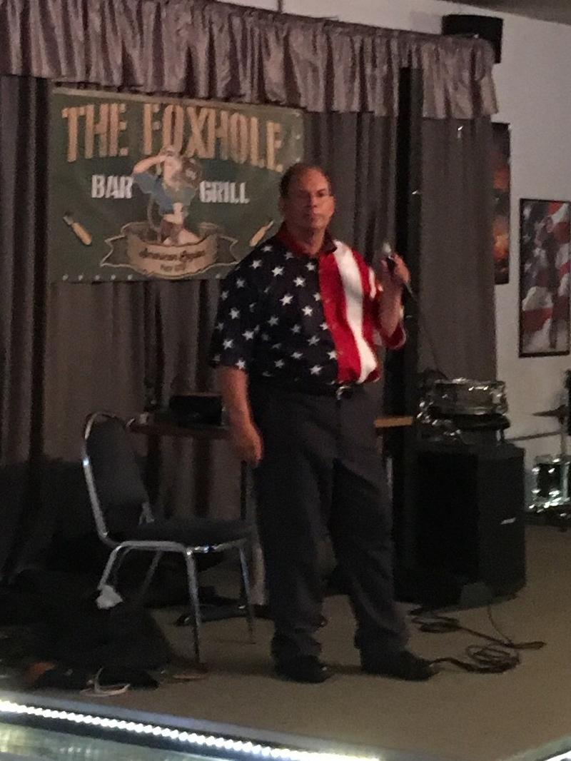 Karaoke Singer Broadway Bill Entertaining American Legion Members and Guests at The Foxhole Bar & Grill