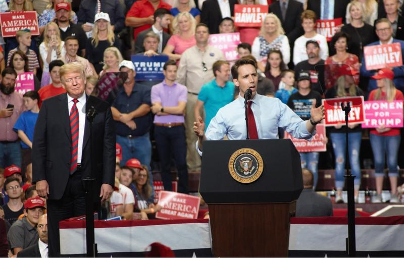 Josh Hawley addresses the crowd at President Trump's rally in Springfield.